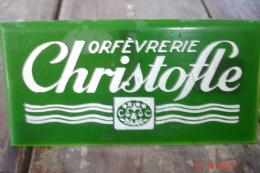 Plaquette Pub Orfevrerie Christofle  Plastique 11,3X5,5.années 60 - Plaques Publicitaires