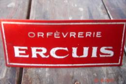 Plaquette Pub Orfevrerie Ercuis Support Plastique Années 60 11,5X4,7 . - Plaques Publicitaires
