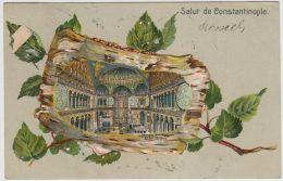 19354g CONSTANTINOPLE - Intérieur De La Mosquée Ste Sophie - 1906 - Feuilles - Gaufrée - Turquie