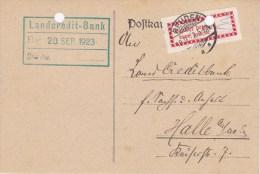 "Germany; Infla Card Mit Gebürenzettel"" Halle (Saale) OPD - Lettres & Documents"