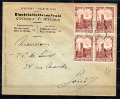 Cathédrale Sint Bavo GENT , 270 Bloc De 4 Sur Lettre, Cachet 1er Jour, Cote 40 €, - Belgium