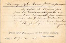 ARDENNES 08.THILAY CARTE POSTALE COMMERCIALE PRECURSSEUR  1901 FERRONNERIE  BALLOT CERCELET - Other Municipalities