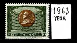 - ITALIA - REPUBBLICA - Singolo - Year 1963 - Giuseppe Verdi - Viaggiati - Traveled -reiste... - 6. 1946-.. Repubblica