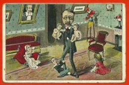 CPA Bébés Multiples (Les Joies De La Paternité) Père Humour Baby Surréalisme Fantaisie - Bébés