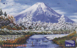 Carte Japon - VOLCAN MONT FUJI - VULCAN Mountain Japan Prepaid Card - VULKAN Tosho Karte - 108 - Montagnes