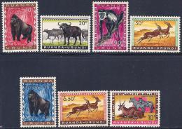 Ruanda-Urundi, Scott # 137-41,146,148 MNH Animals, 1959 - Ruanda-Urundi