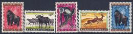 Ruanda-Urundi, Scott # 137-41 Mint Hinged Animals, 1959 - 1948-61: Mint/hinged