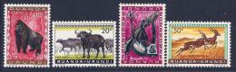 Ruanda-Urundi, Scott # 137-40 MNH Animals, 1959 - Ruanda-Urundi