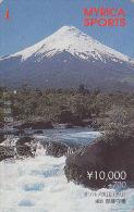 RARE Carte Prépayée Japon - VOLCAN MONT FUJI & CASCADE / Faciale 100 Euros - VULCAN & WATERFALL Japan Prepaid Card - 123 - Montagnes
