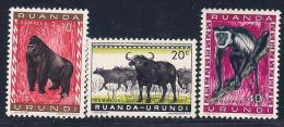 Ruanda-Urundi, Scott # 137-9 MNH Animals, 1959 - Ruanda-Urundi