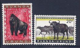 Ruanda-Urundi, Scott # 137-8 Mint Hinged Animals, 1959 - Ruanda-Urundi