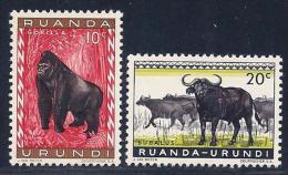 Ruanda-Urundi, Scott # 137-8 MNH Animals, 1959 - Ruanda-Urundi
