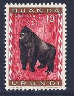 Ruanda-Urundi, Scott # 137 Mint Hinged Gorilla, 1959 - Ruanda-Urundi