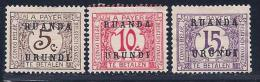 Ruanda-Urundi, Scott # J1-3 Mint Hinged Belg. Congo Postage Due, Overprinted, 1924, #J3 Has No Gum - Ruanda-Urundi
