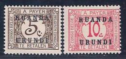 Ruanda-Urundi, Scott # J1-2 Mint Hinged Belg. Congo Postage Due, Overprinted, 1924 - Postage Due: Mint/hinged Stamps