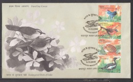 INDIA, 2006, FDC, Endangered Birds Of India, Set 4 V,  Vertical Setenant, Jabalpur Cancelled - FDC