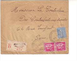 Recommandé Semeuse Paix Horoplan Gennevilliers Gresillon Seine 2/12/38 Au Dos Paris XVII Distribution - 1921-1960: Période Moderne