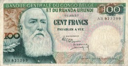 Belgian Congo 100 Francs,P. 33b,01.03.1957,see Scan - [ 5] Belgian Congo