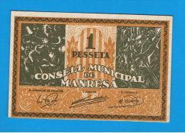 BILLETE LOCAL - MANRESA 1 Peseta - [ 3] 1936-1975 : Régence De Franco