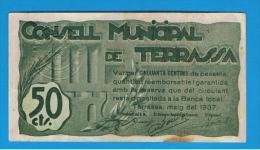 BILLETE LOCAL - TERRASSA 50 Centimos - [ 3] 1936-1975 : Régence De Franco