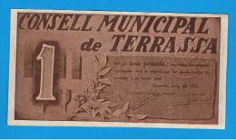 BILLETE LOCAL - TERRASSA 1 Peseta - [ 3] 1936-1975 : Régence De Franco