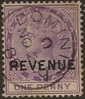 DOMINICA 1879 1d Lilac Revenue SG R4 FU WB62 - Dominica (...-1978)