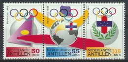 Mej1000 SPORT OLYMPISCHE SPELEN VLAG GLOBE FLAG OLYMPIC GAMES BARCELONA POSTZEGEL STAMP NEDERLANDSE ANTILLEN 1992 PF/MNH - Zomer 1992: Barcelona
