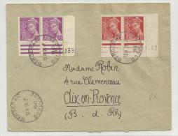 1941 - ENVELOPPE De BERGERAC (DORDOGNE) Avec DOUBLE PAIRE MERCURE COIN DATE - France