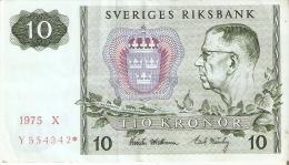 BILLETE DE SUECIA DE 10 CORONAS DEL AÑO 1975 CALIDAD MBC  (BANKNOTE) - Suecia