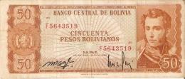BILLETE DE BOLIVIA DE 50 PESOS BOLIVIANOS DEL AÑO 1962 (BANKNOTE) - Bolivia