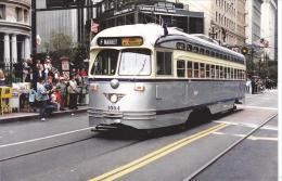 Muni 1054 San Francisco Municipal Railway Ex SEPTA 2121 Tram Postcard (T11646) - Buses & Coaches