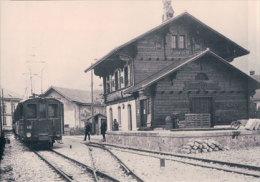 Chemin De Fer Fribourgeois, Train à La Gare De Broc, Photo Retirage BVA,GFM 50.12 - Eisenbahnen