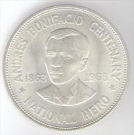 FILIPPINE 1 PESO 1963 AG ANDRES BONIFACIO CENTENARY - Filippine
