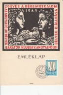 PEACE MOVEMENT ANNIVERSARY PHILATELIC EXHIBITION, DOVE, COMMEMORATIVE BLOCK, 1969, HUNGARY - Feuillets Souvenir