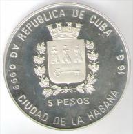 CUBA 5 PESOS 1989 AG PROOF FDC CAMPEONATO MUNDIAL DE FUTBOL ITALIA 1990 - Cuba