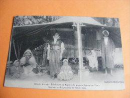 Cpa Gourbi Arabe Fabrication De Tapis De La Maison Djamal De Tunis Souvenir De L´Exposition Nancy 1909 - Túnez