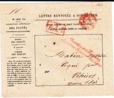 1863 - LETTRE TOMBEE EN REBUT - ENVELOPPE De La DIRECTION GENERALE Des POSTES  Pour VIHIERS (MAINE ET LOIRE) - - Postmark Collection (Covers)
