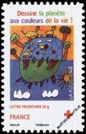 """YTA237 FR2008 Adhésif émis En Carnet Croix-Rouge 2008 : """"La Couleur, La Vie"""" (globe Et Animaux), Dessin D´Inès Scharff - Francia"""