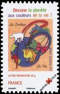 "YTA238 FR2008 Adhésif émis En Carnet Croix-Rouge 2008 : ""Globe Avec Animaux Et Arbres, Dessin D´Elise Boulay9 - Francia"