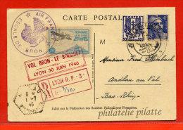 FRANCE CARTE JOURNEE DU TIMBRE RECOMMANDEE PAR AVION DE 1946 DE LYON - Poste Aérienne