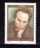 AUSTRIA   1990 , Franz Werfel - Writter 100 Years Birth  , Y&T  #  1832      Cv  1.50  E , **  M N H , V V F - 1945-.... 2a Repubblica