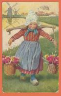 HB375, Petite Fille En Sabot, Moulin,  Mill, Mühle, Circulée 1920 - Phantasie