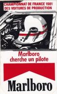 VIEUX PAPIERS AUTOCOLLANT PUBLICTAIRE MALBORO CHAMPIONNANT FRANCE VOITURES PRODUCTION 81 - Publicités