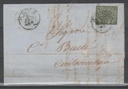Stato Pontificio 1852 - 2 Bajocchi Su Lettera - Annullo Roma     (g4443) - Etats Pontificaux