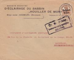 """Lettre TP Germania Cachet QUAREGNON - Censure MONS - Entete """" D'ECLAIRAGE DU BASSIN - HOUILLER DE MONS """" (VK) - WW I"""