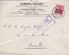 """Lettre TP Germania Cachet FONTAINE-L'EVEQUE - Censure MONS - Entete """" SAMBRE-ESCAUT / TREFILERIE ET SES DERIVES """" (VK) - Guerre 14-18"""