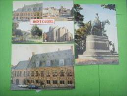 29 ) Mont Cassel : 3 Cp Neuves:statue Marechal Foch ,place De Gaulle,jardin Public Et Collegiale Notre Dame - France