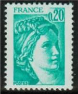 2 Exemplaires De Sabine  0.20F Vert GM Bande Phospho à GAUCHE - 1977-81 Sabine (Gandon)