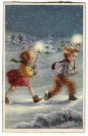 Christmas Noel Navidad Kids In Snow With Stars Vintage Original Postcard Cpa Ak (W3_2472) - Noël