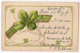 1906 New Year Wishes Art Nouveau Clover Vintage Original Postcard Cpa Ak (W3_2481) - Año Nuevo